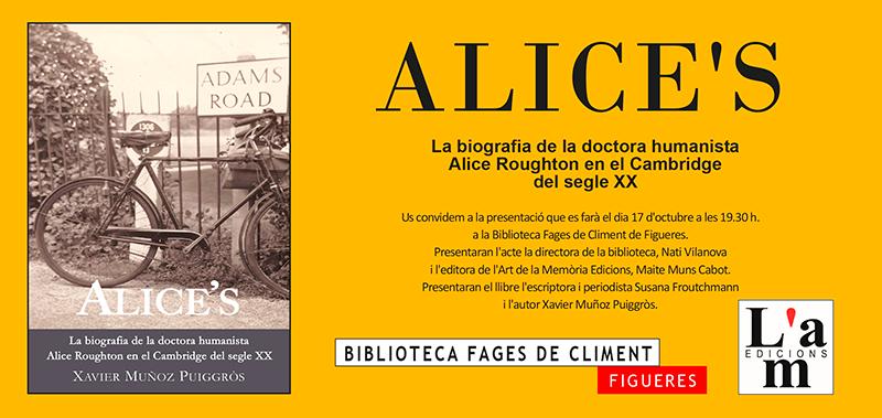Presentació d'Alice's de Xavier Muñoz a la Biblioteca Fages de Climent de Figueres