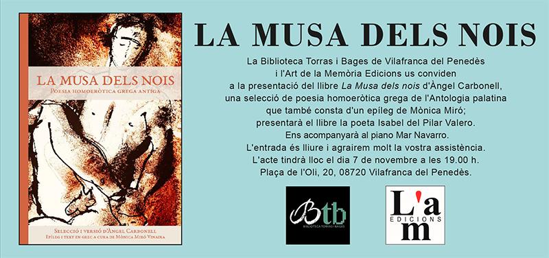 Presentació de La musa dels nois d'Àngel Carbonell a la Biblioteca Torras i Bages de Vilafranca del Penedès