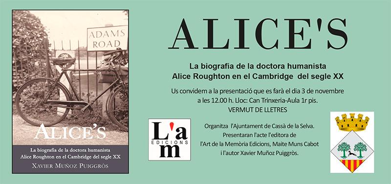 Presentació d'Alice's de Xavier Muñoz a Cassà de la Selva