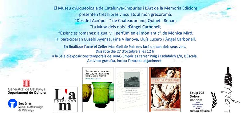 Presentació de tres llibres vinculats al món grecoromà