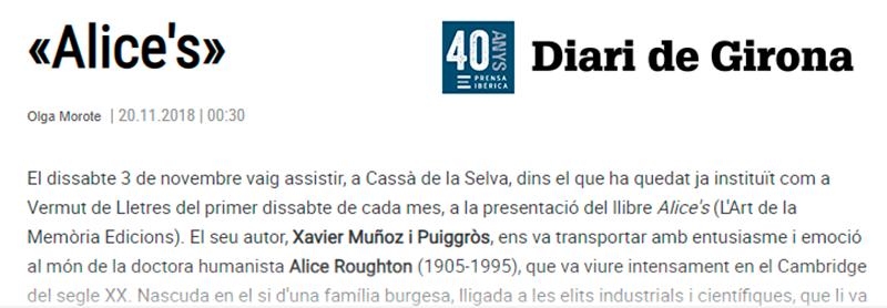 Article d'opinió al Diari de Girona: Alice's