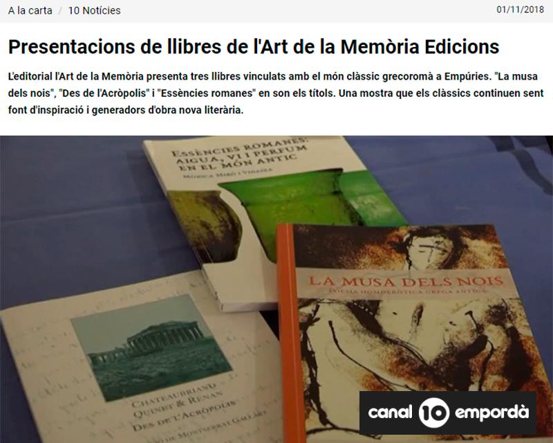 Vídeo a Canal 10 Empordà sobre la presentació al Museu d'Empúries