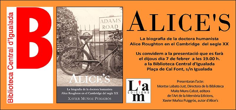 Presentació d'Alice's a la biblioteca central d'Igualada